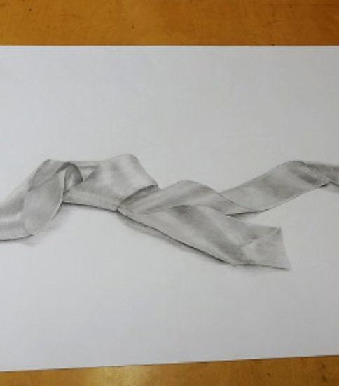 リボンの鉛筆デッサン
