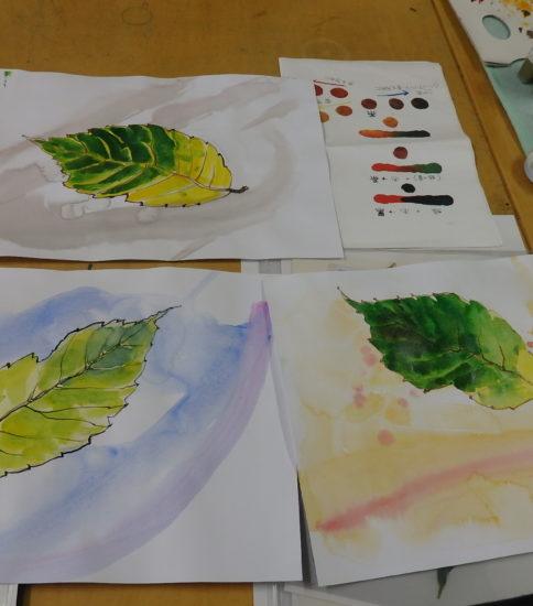 バックから描く 水彩画