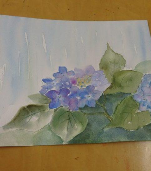 紫陽花 琵琶 季節感のある生物を描く