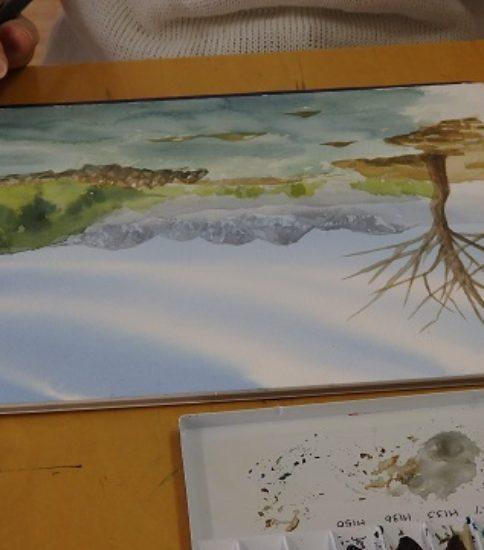 信州の風景を水彩で描く