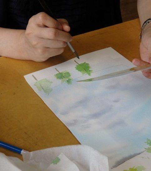 透明水彩で木を描く