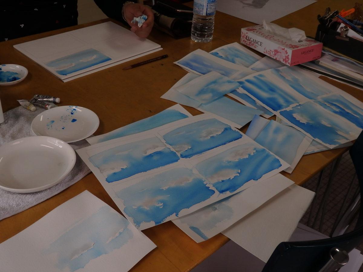 透明水彩で描く 青空