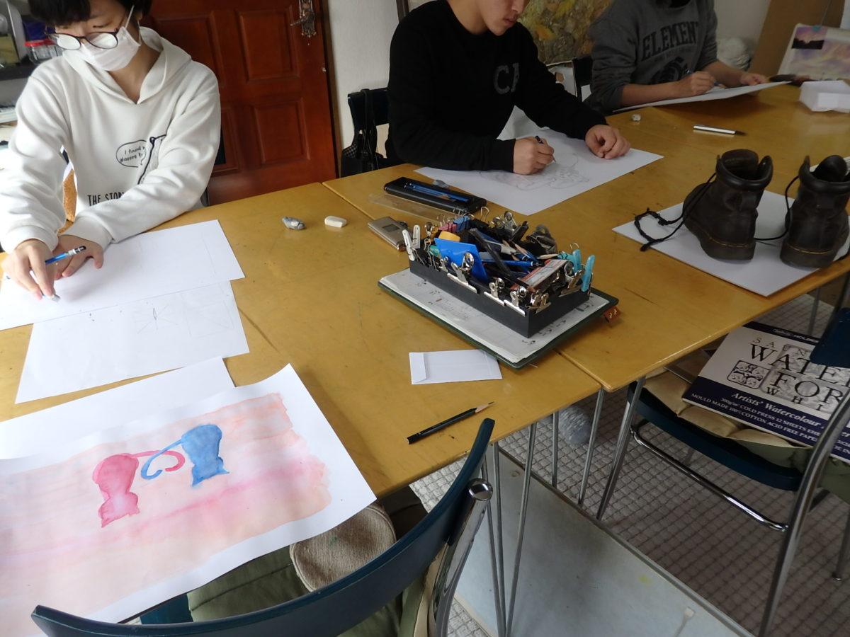 イメージ水彩と鉛筆デッサン